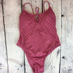 Crochet look dusty rose one piece swimsuit